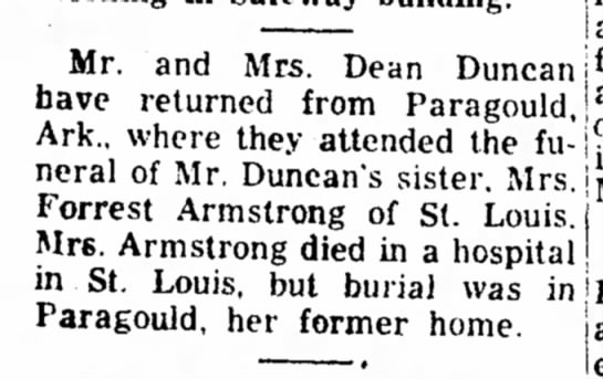 Dorothy Eubanks - sister's funeral - Mr. and Mrs. Dean Duncan have returned from...