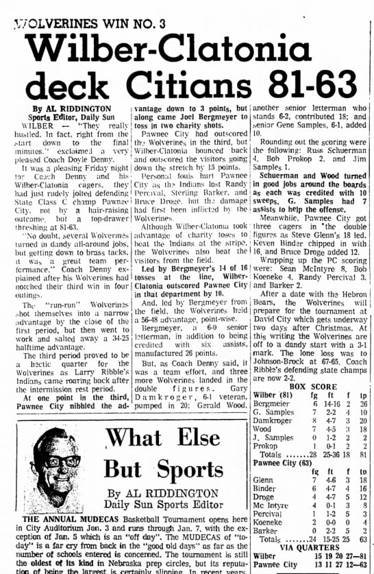 Percival, Randy Basketball 18 Dec 1971, Beatrice Daily Sun - .V/OLVERINES WIN NO. 3 Wilber-Clatonia deck...