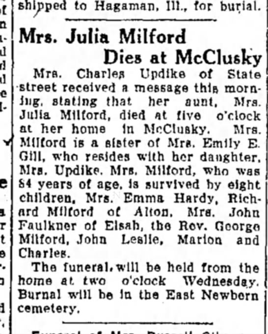 Julia Milford - shipped to Hagaman, 111., for burial. Mrs....