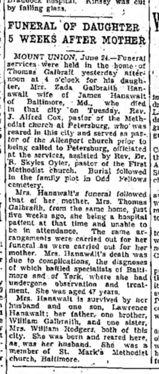 Zada Galbraith Hanawalt obit-Altoona Mirror-p.16-24 June 1932 - Sy falling glass, • , FUNERAL'OF DAUGHTER i...