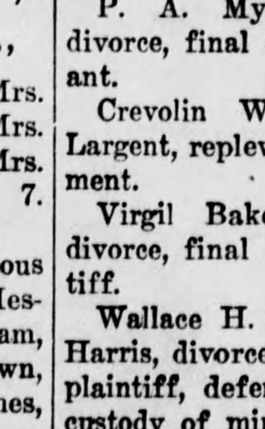Virgil Baker & Maud divorce - Mrs. Mrs. Mrs. 7. Mes-dames P. A. divorce,...