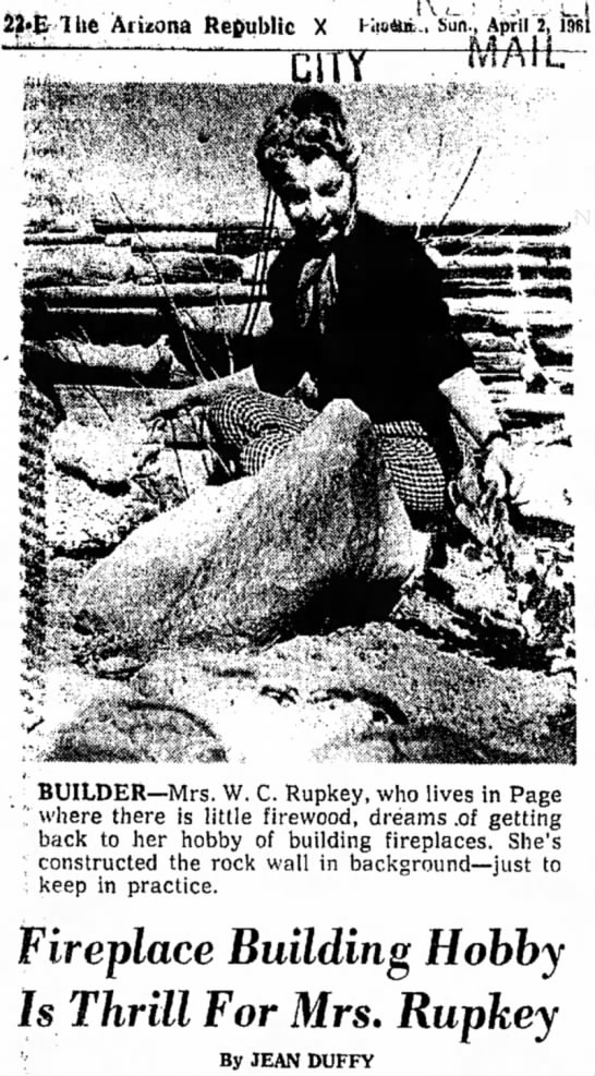 PHOTO - Grace (Mrs. WC Willy) Rupkey - 4-2-61 - lite Arizona Republic X \ • ' • < ' ! Sun.,...