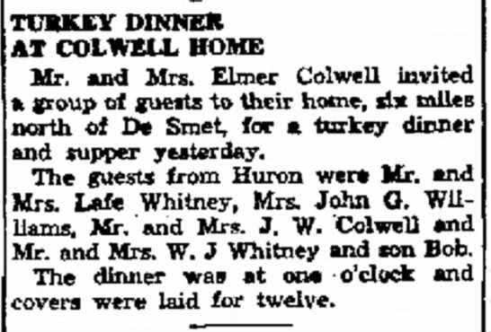 Elmer F. Colwell- Turkey Dinner At Colwell home - Simmons officers. the The TURKEY DINNER ,T...