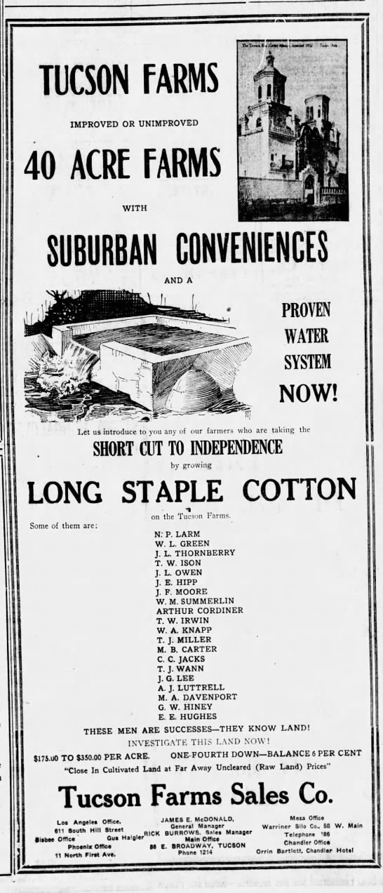 Talmadge Ison -Tucson Farms Sales Co ad
