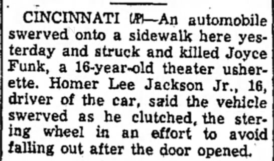 Joyce Funk The Daily Reporter Dover, OH Mar. 10, 1955 - CINCINNATI W>—An automobile werved onto a...