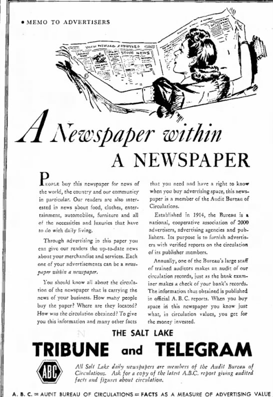 1942 Salt Lake City Tribune and Telegram see Arthur C Deck Salt Lake City Tribune UT February 19 - A Newspaper within A NEWSPAPER R buy this...