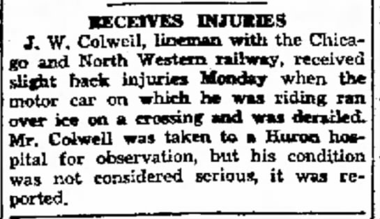 J.W. Colwell- Receives injuries - 14% Hef ·ECETVES BUUHE9 J. W. Colwell, lineman...
