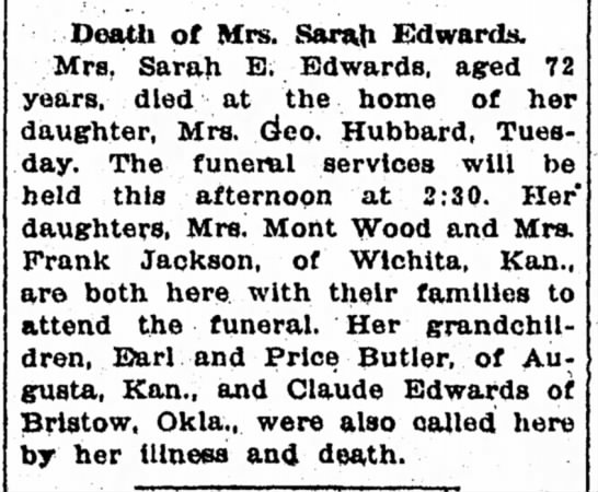 Emma Edwards Butler mother's death - Death of Mrs. Sarah Edwards. Mrs, Sarah E....