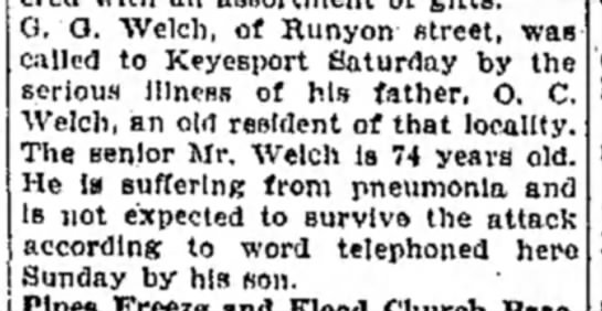O.C. Welch dying