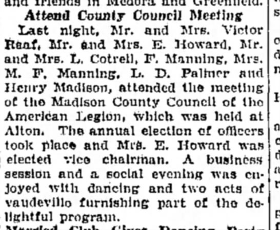Mrs M F Manning, F Manning - Attend County Council Meeting Last night, Mr....
