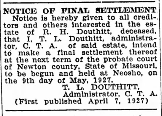 R H Douthitt and T L Douthitt