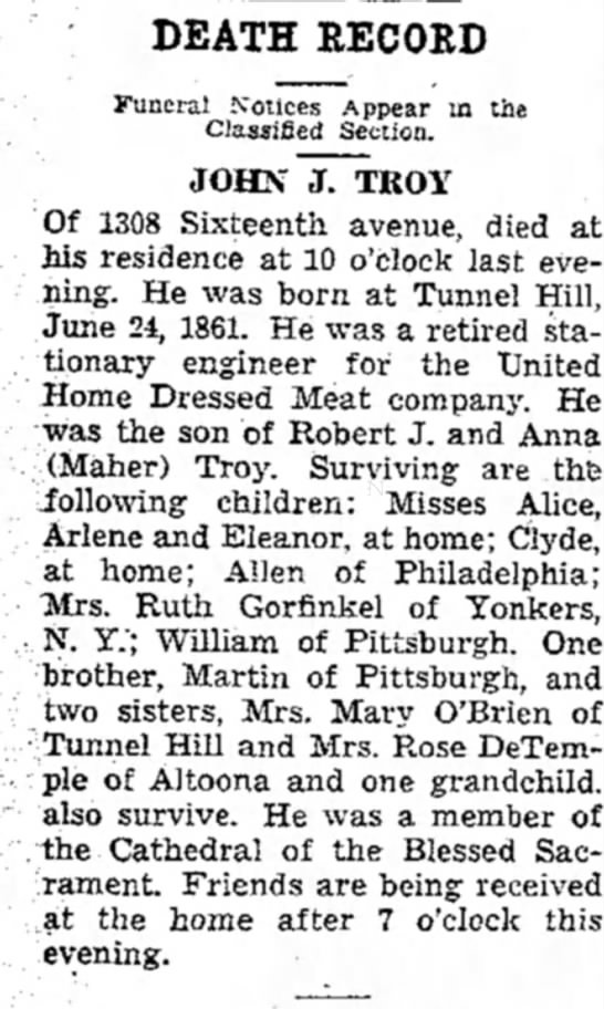 john j troy obit - DEATH RECORD Funeral Notices Appear in the...