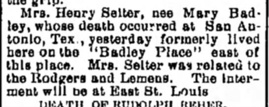 - Mrs. Henry Seller, nee Mary Bad ley, whose...