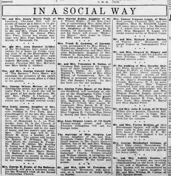 Social news, 1921 - immoral. C. M. M. .Wiedor-hold. IN A SOCIAL WAY...