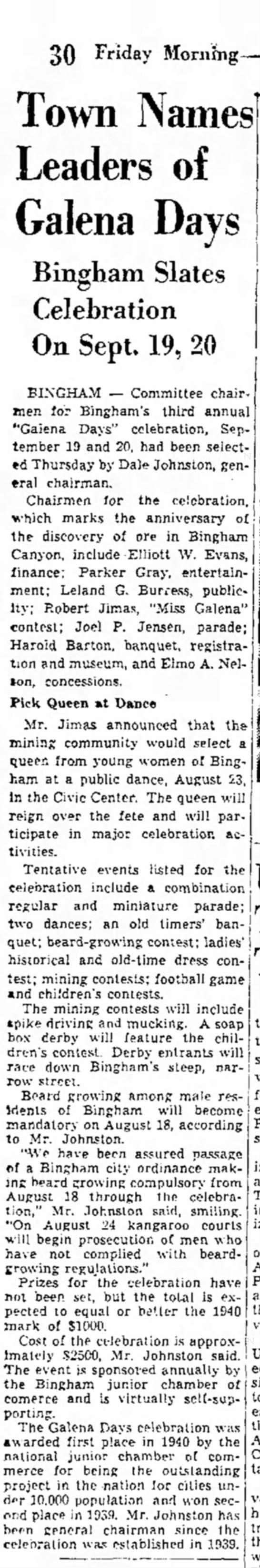1941 Galena Days selects chairman, Dale Johnston - 30 Friday Mornhig- Galena Days Bingham Slates...