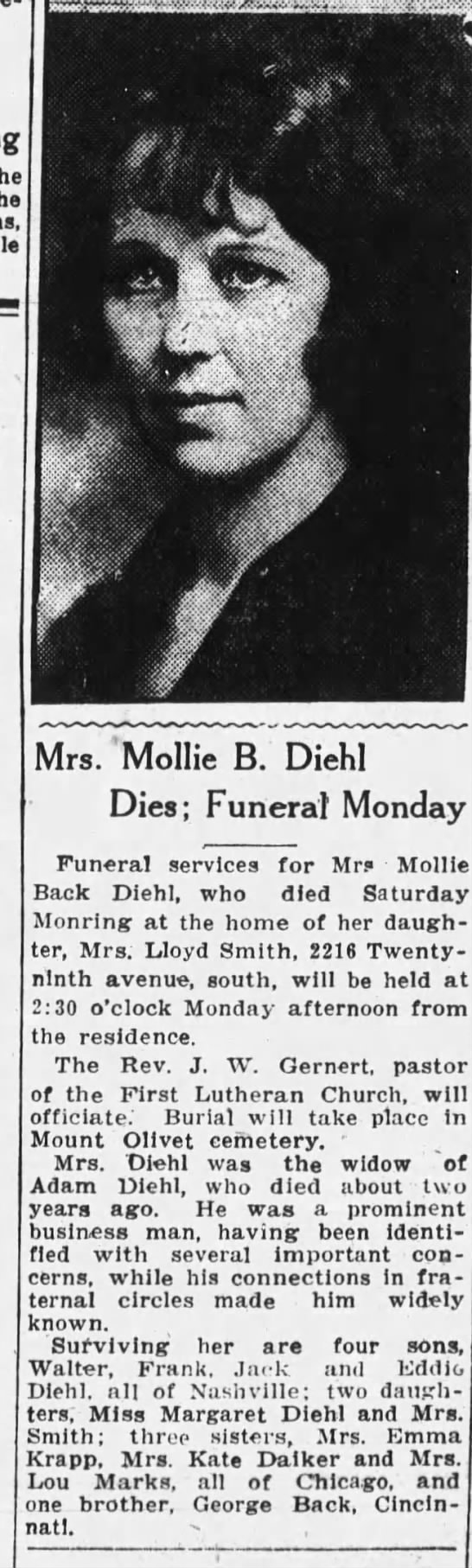 "Mollie Black Picture - m ""'""'' """"'L"""" Mrs. 'Mollie B. Diehl Dies;..."