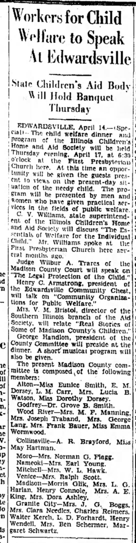Mrs M F Manning - Workers for Child Welfare to Speak At Ed wards...