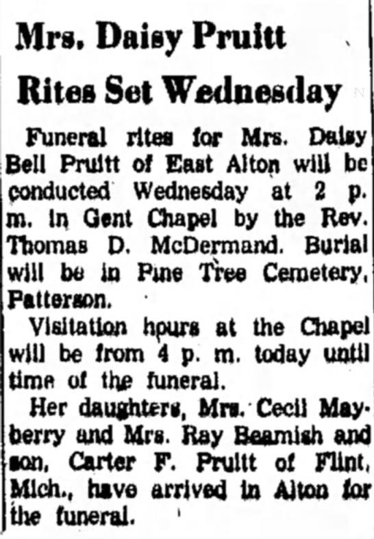 Daisy (Carter) Pruitt - obit - Mrs. Daisy Pruitt Rites Set Wednesday Funeral...
