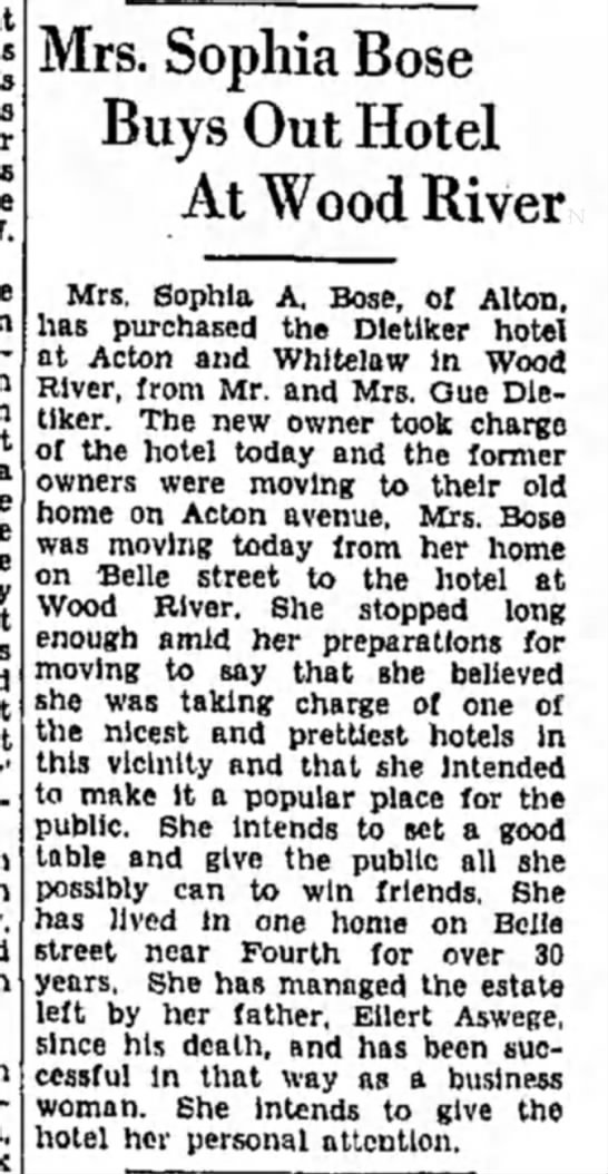 Sophia Bose Hotel - Mrs. Sophia Bose Buys Out Hotel At Wood River...