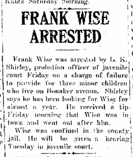 Frank Wise Arrested - 12 Sept 1919 - s j delegates f r o m : which given for Ihc a...