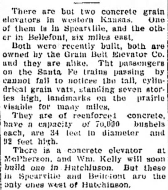 early concrete, Spearville, Bellefont, Grain Belt Elevator, - Thero are but two concrete grain elevators In...