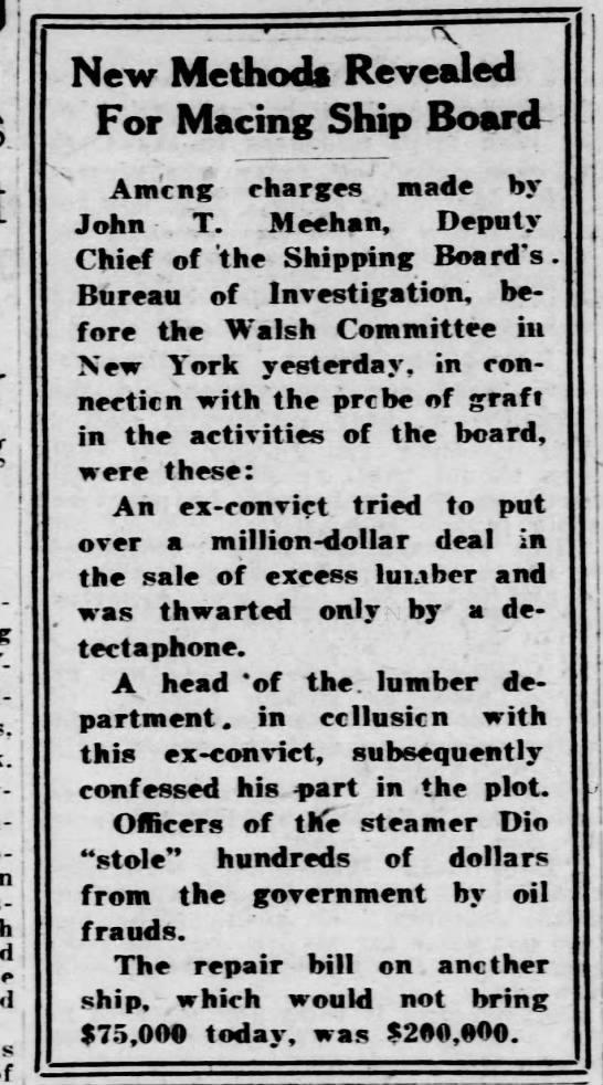 John T. Meehan, Deputy c hief of the shipping Board's Bureau of Investigation. 1920 - PhiladeT- j ad- j ! j follow-; follow-; com- !...