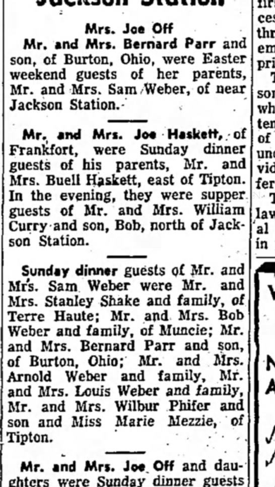- Mrs. Joe Off Mr. and Mrs. Bernard Parr and son,...