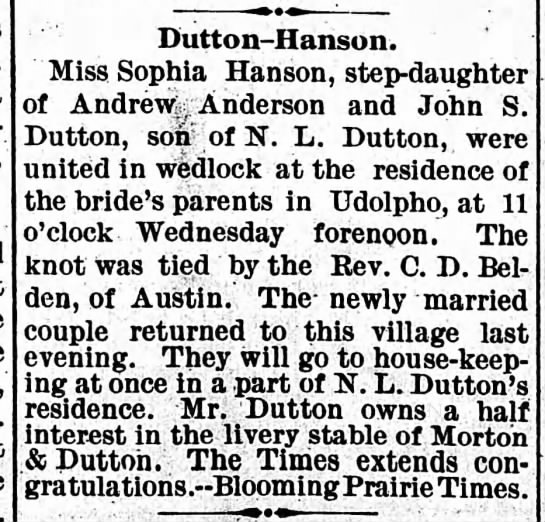 Dutton-Hanson wed in Udolpho 1893 (Wednesday, 18 October 1893, page 5, column 2)