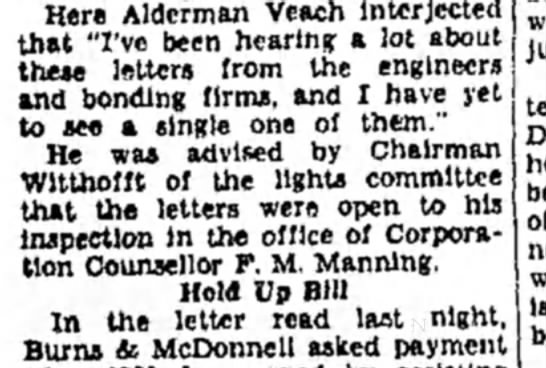 "F Manning - Here Alderman Veach interjected that ""I've been..."