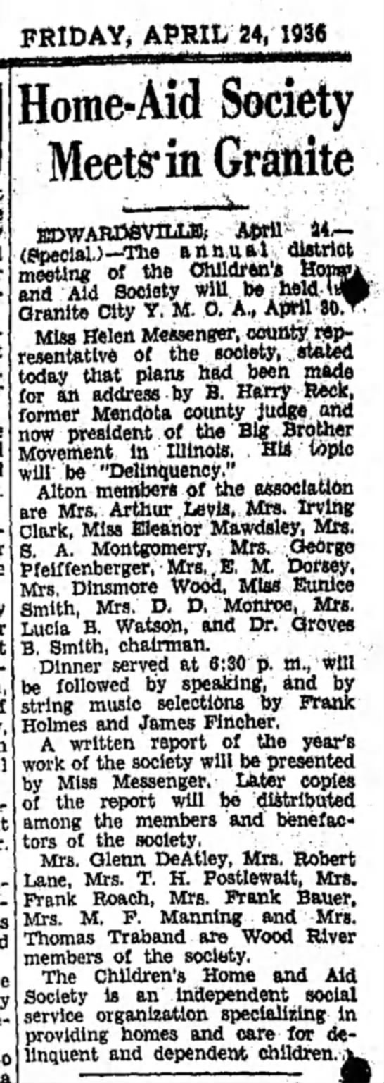 Mrs M F Manning - FRIDAY, APRIL 24, 1936 Jome-Aid Society Meet^in...