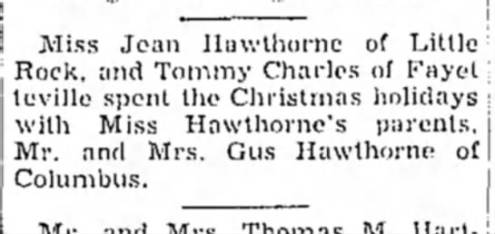 Hope Star p3, 30 Dec 1953, Jean Hawthorne - Miss Jean Hawthorne of Little. Rock, and Tommy...