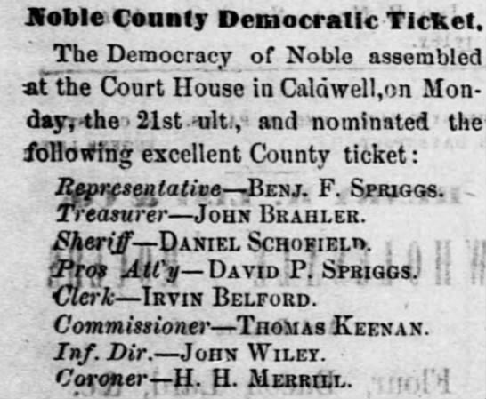 John Brahler - Hoble County Democratic Ticket. The Democracy...