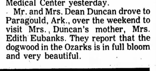 Dean Duncan - Medical Certter yesterday. Mr. and Mrs. Dean...
