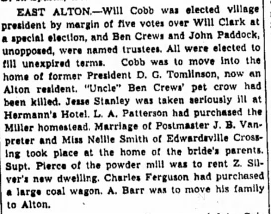 - EAST ALTON.—Will Cobb was elected village...