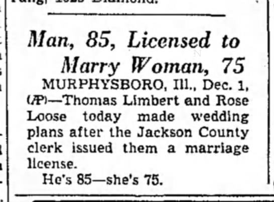 Thomas Limbert & Rose Loose Marriage License - Man, 85, Licensed to Marry Woman, 75...