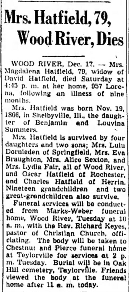 Magdalena Hatfield Obituary - Mrs.Hatfield,79, Wood River, Dies WOOD RIVER,...