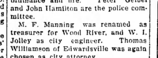 M F Manning - 1 and John Hamilton are the police committee....