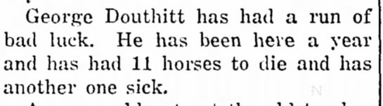George Douthitt sick horses dying.