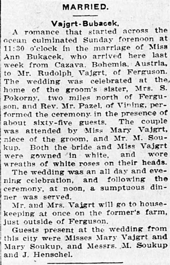 Rudolph Vajgrt and Ann Bukacek married Jun 18th 1911 - MARRIED. Vajgrt-Bubaeek. A romance that started...