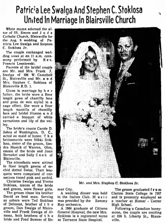 Marriage of Stephen C. Stoklosa and Patricia Lee Swalga - 1969 - Patrick Lee Swalga And Stephen C. Stoklosa...