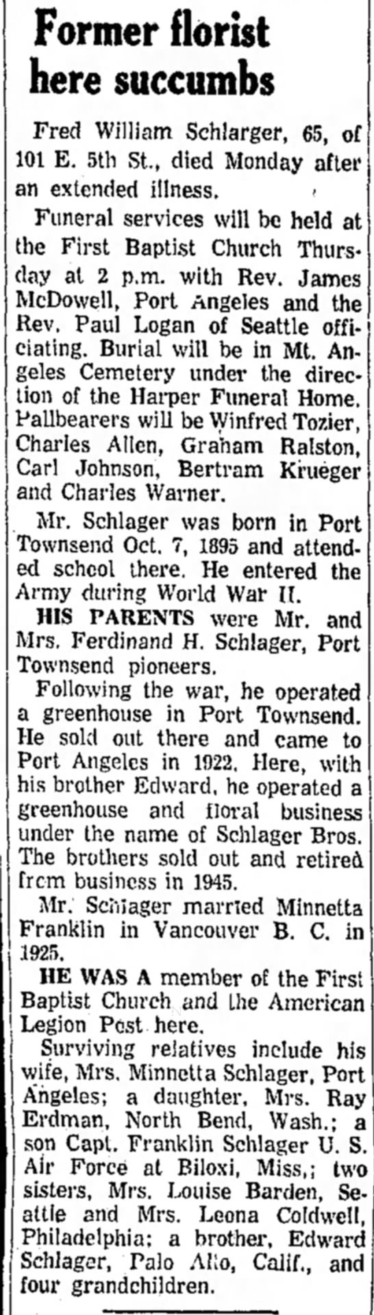 Fred Schlager Obit - Former florist here succumbs Fred William...