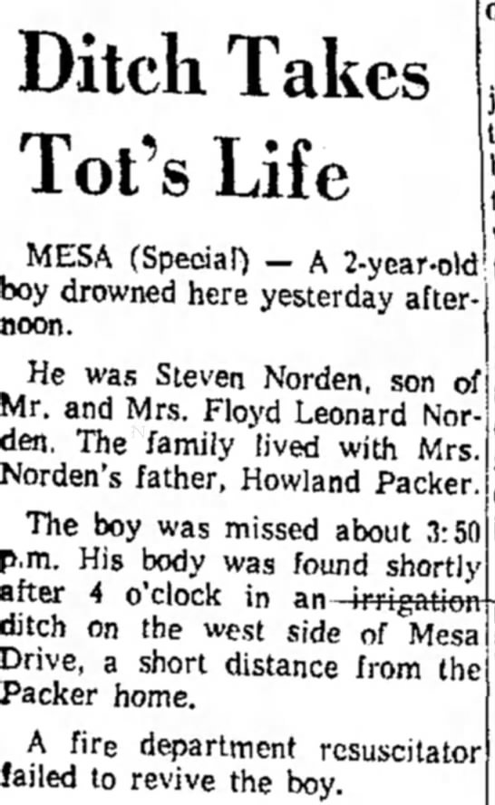 SFN Death Article Arizona Replublin (Phoenix, Arizona) 25 January 1960 - .___. when MESA (Special) - A 2-year.oW boy...