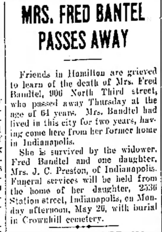Mrs. Fred  Bandtel of Hamilton, OH The Journal News, May 23,1930 Frid. p.20