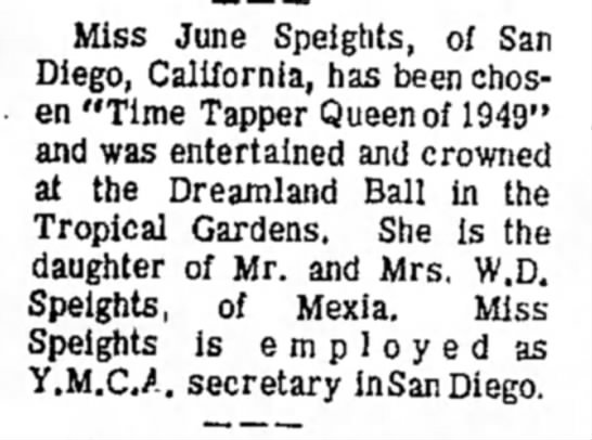 June Speight July 1949 from July 25 1969 Mexia paper flashback - Miss June Speights, of San Diego, California,...
