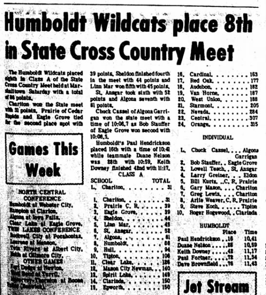 1969 State Cross Country Meet Freshman year - Wildcats place 8fk • State Cross Country Meet...