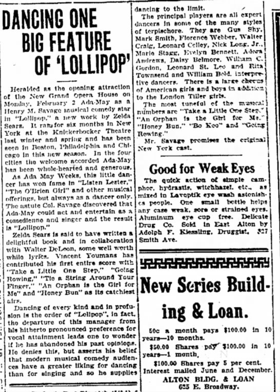26 January 1925 Long in Lollypop - DANCING ONE BIG FEATURE OF'LOLLIPOP' Heralded...