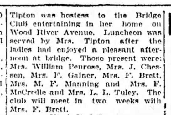 Mrs M F Manning - Tlplon wan hostess to the Drldpre Club...