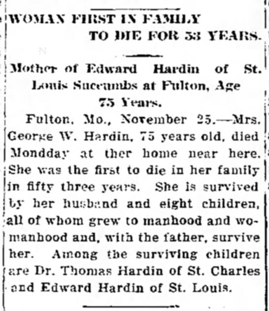 The Chillicothe Tribune Chillicothe, Missouri 25 November 1914 page 1 - FIRST IN FAMILY Mother of Edward Hardin of St....