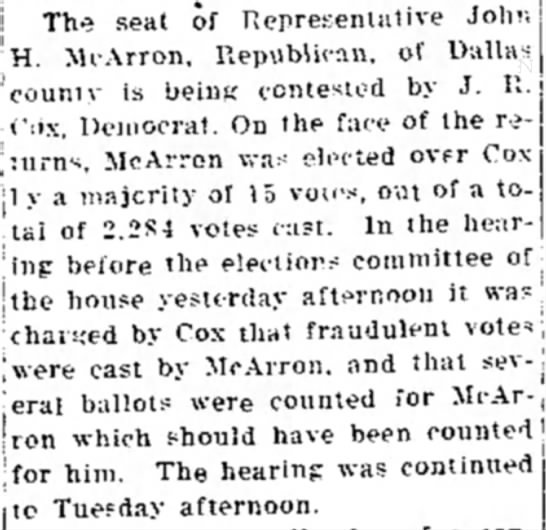 John H. McArron's seat contested - j The seat of Representat.ve Johr. H. McArron,...