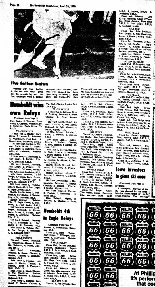 April 22, 1970 continued Humboldt Relays